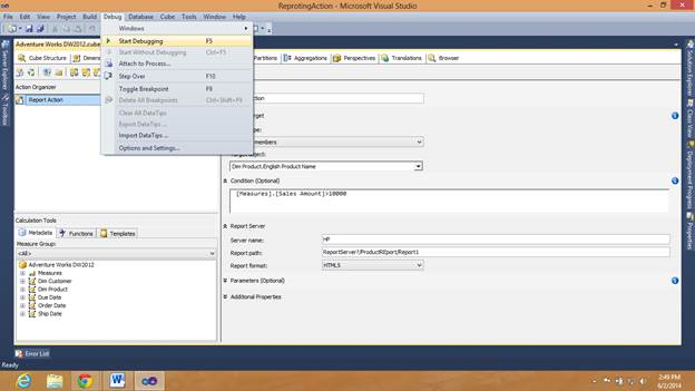 SQL SERVER - What are Actions in SSAS and How to Make a Reporting Action kssas-7
