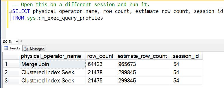 SQL SERVER - Live Plans for Long Running Queries liveplanimage