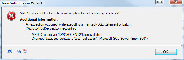 SQL SERVER - Fix : Error : 8501 MSDTC on server is