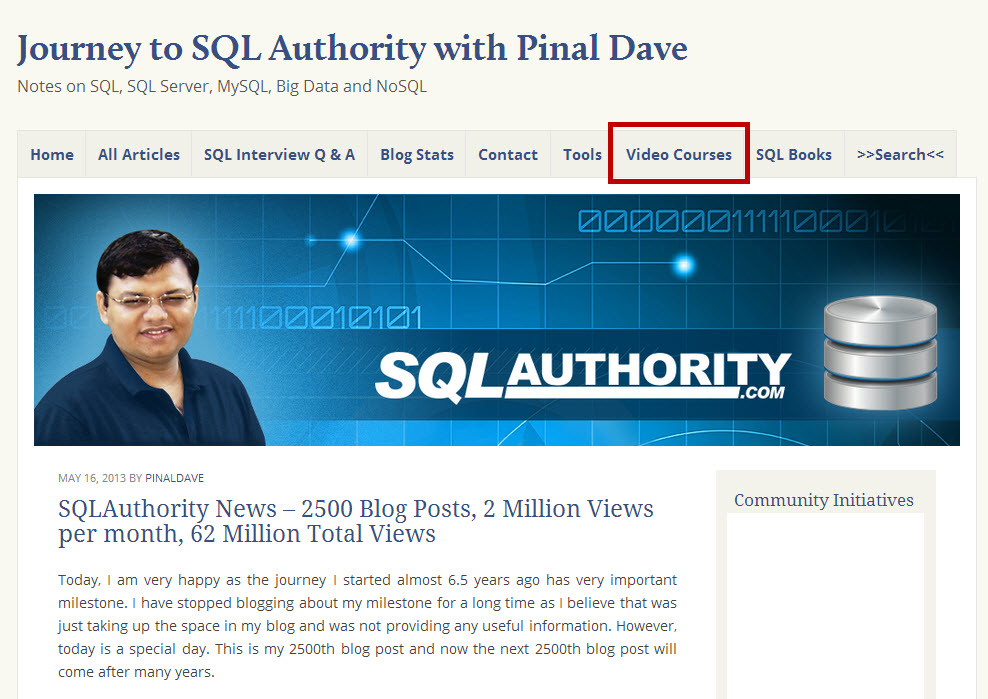 SQLAuthority News - New Theme of SQLAuthority and Video Courses newblog