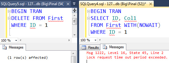 SQL SERVER - Basic Explanation of Query Hint NOWAIT - How to Not Wait on Locked Query nowaittablehint