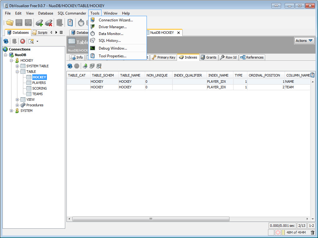 SQL - NuoDB and Third Party Explorer - SQuirreL SQL Client, SQL Workbench/J and DbVisualizer c11
