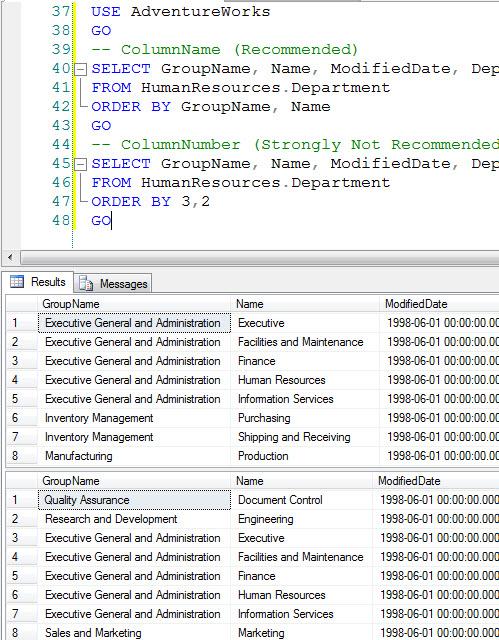 SQL SERVER - ORDER BY ColumnName vs ORDER BY ColumnNumber order2