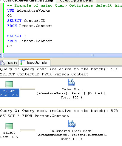 SQL SERVER - Interesting Observation - Use of Index and Execution Plan orin1