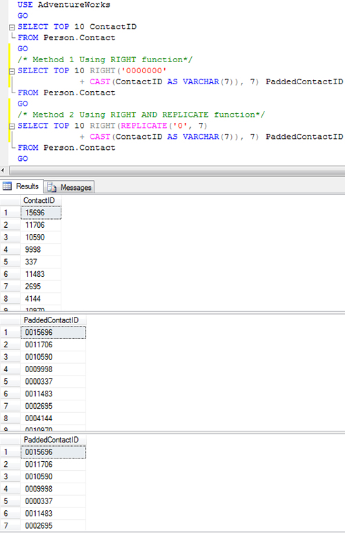 SQL SERVER - Pad Ride Side of Number with 0 - Fixed Width Number Display pading0