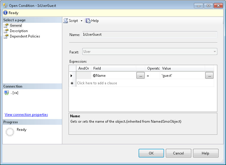 SQL SERVER - Identifying Guest User using Policy Based Management pbm2