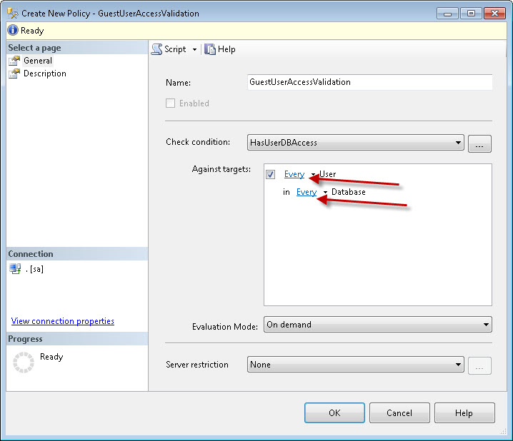SQL SERVER - Identifying Guest User using Policy Based Management pbm4