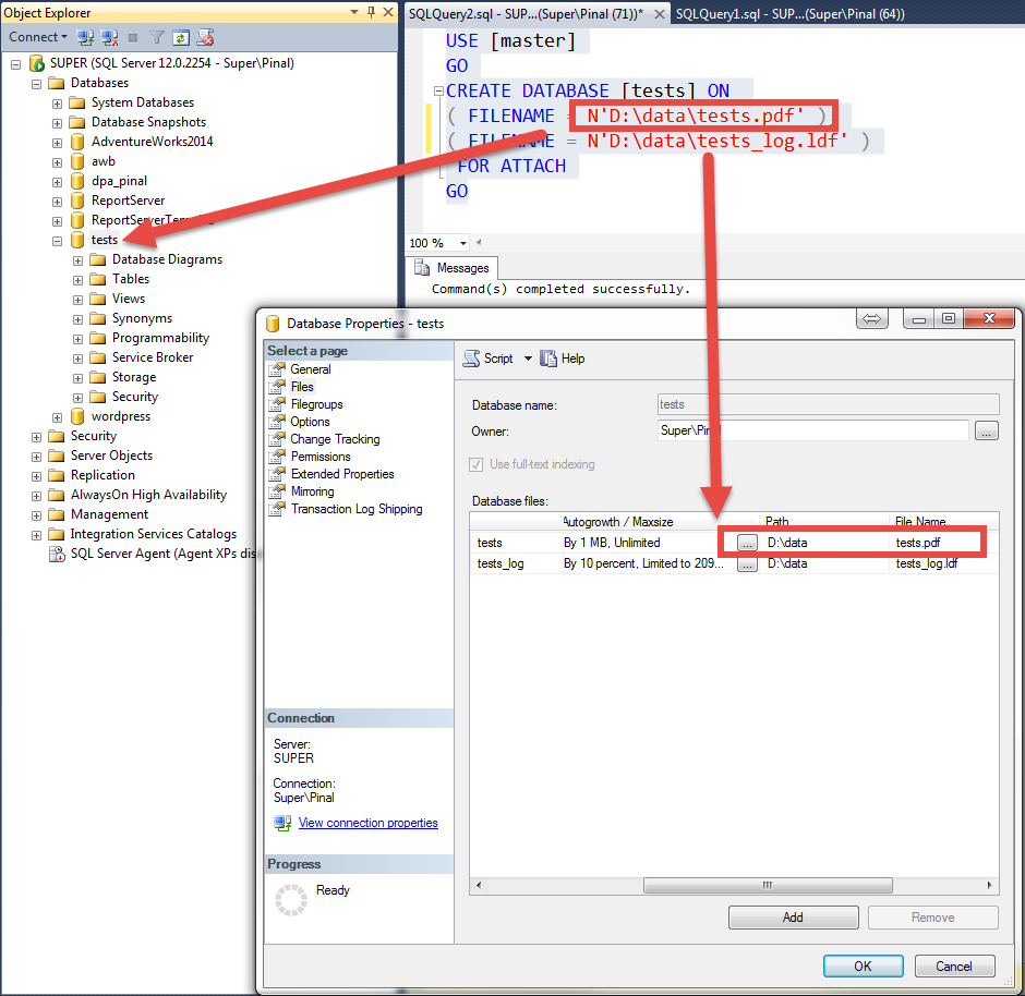 SQL SERVER - Can Database Primary File Have Any Other Extention Than MDF pdfrestore