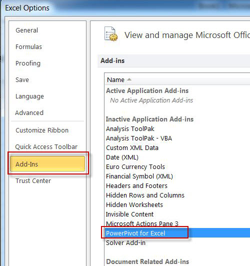 SQL SERVER - Enable PowerPivot Plugin in Excel pp3
