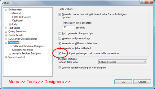 SQL SERVER - Fix : Management Studio Error : Saving Changes in not permitted. The changes you have made require the following tables to be dropped and re-created. You have either made changes to a table that can't be re-created or enabled the option Prevent saving changes that require the table to be re-created preventtable