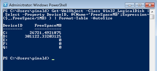 SQL SERVER - Powershell - Get a List of Fixed Hard Drive and Free Space on Server pssize