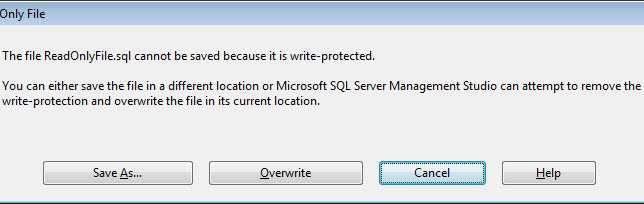 SQL SERVER - Read Only Files and SQL Server Management Studio (SSMS) readonly3