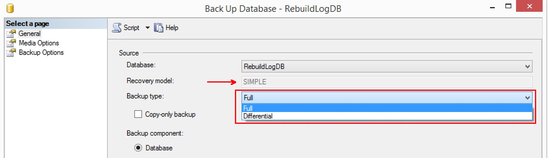 SQL SERVER - Transaction Log Backup Failing After Rebuilding Database Log File rebuildlog-simple-recovery-01