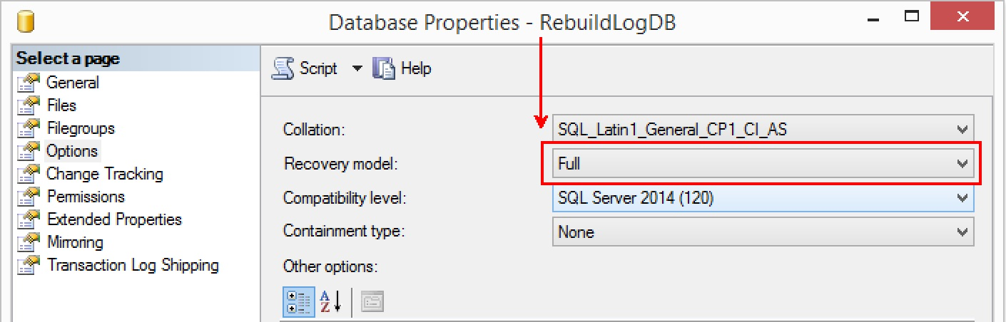 SQL SERVER - Transaction Log Backup Failing After Rebuilding Database Log File rebuildlog-simple-recovery-02