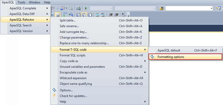 SQL SERVER - How to Format and Refactor Your SQL Code Directly in SSMS and Visual Studio image001