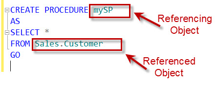 SQL SERVER - Find Referenced or Referencing Object in SQL Server using sys.sql_expression_dependencies references