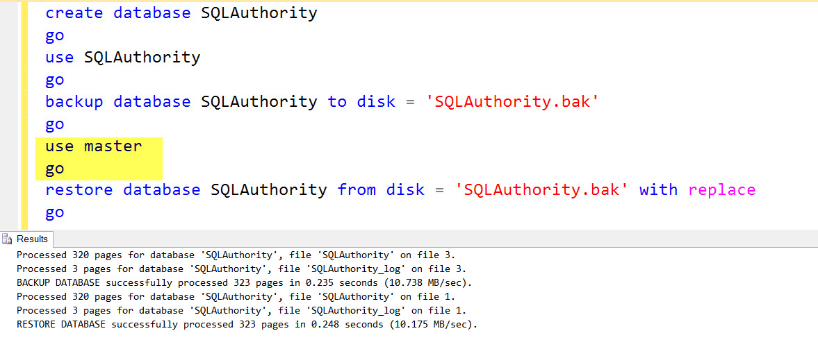 SQL SERVER - FIX: Msg 3102, Level 16, State 1 - RESTORE cannot process database 'Name' because it is in use by this session restore-error-02