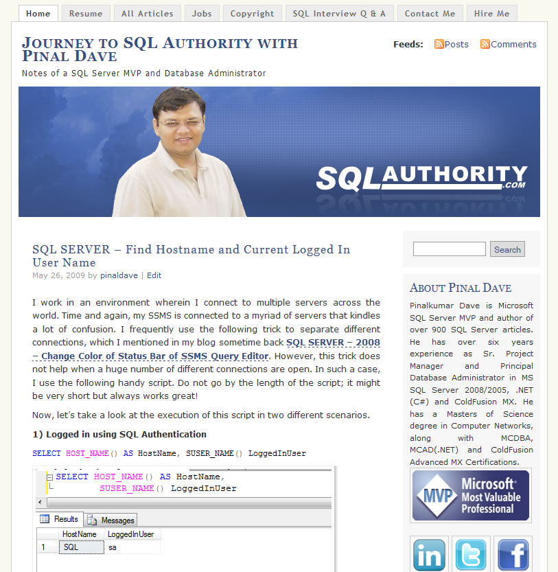 SQLAuthority News - Blog Makeover - New Banner - New Color sa2009_1