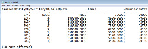 SQL SERVER - Exporting Query Results to CSV using SQLCMD samplequerycsv