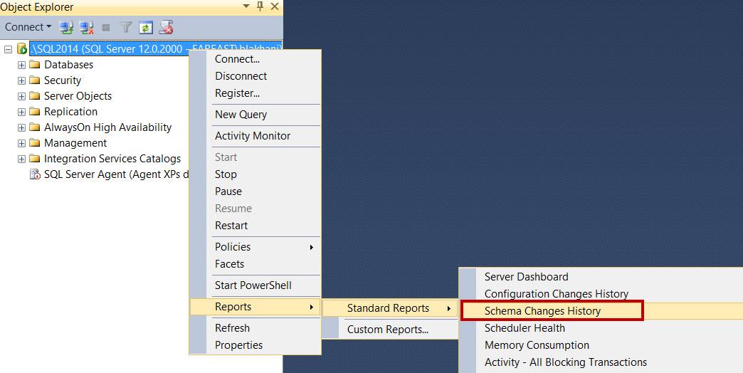 SQL SERVER - SSMS: Schema Change History Report schema-change-history-1