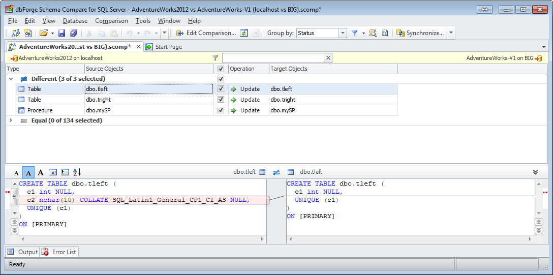 SQL SERVER - How to Compare the Schema of Two Databases with Schema Compare schemacompare6