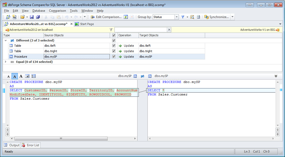 SQL SERVER - How to Compare the Schema of Two Databases with Schema Compare schemacompare8