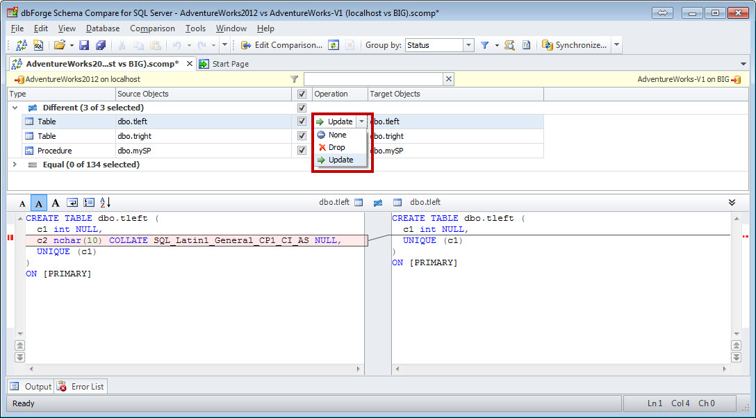 SQL SERVER - How to Compare the Schema of Two Databases with Schema Compare schemacompare9