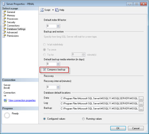 SQL SERVER - Effect of Compressed Backup Setting at Server Level on Database Backup serverbackupsetting