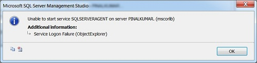 SQL SERVER - FIX - ERROR - Service Logon Failure (ObjectExplorer) servicelogonfail