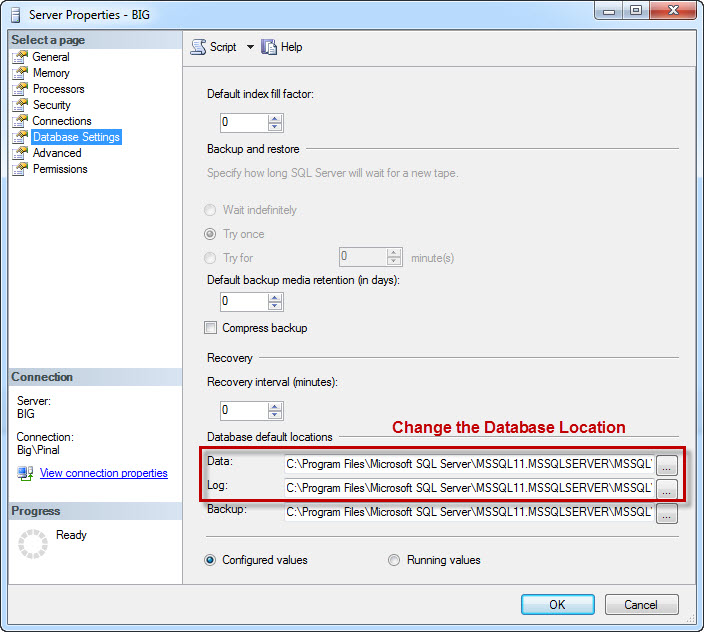 SQL SERVER - Changing Default Installation Path for SQL Server servprop2
