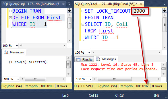 SQL SERVER - Basic Explanation of SET LOCK_TIMEOUT – How to Not Wait on Locked Query set-lock-timeout