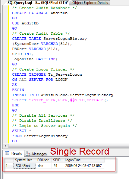 SQL SERVER - Interesting Observation of Logon Trigger On All Servers - Solution singlelogin