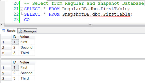 SQL SERVER - 2008 - Introduction to Snapshot Database - Restore From Snapshot snapshot1