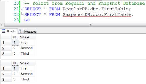SQL SERVER - 2008 - Introduction to Snapshot Database - Restore From Snapshot snapshot1