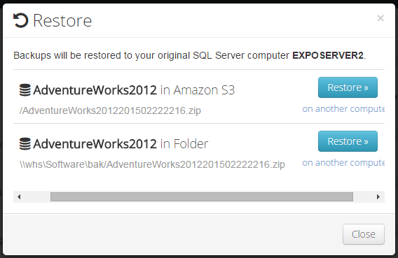 SQL SERVER - Configure, Monitor and Restore Backups from Mobile & Web browser SqlBak014