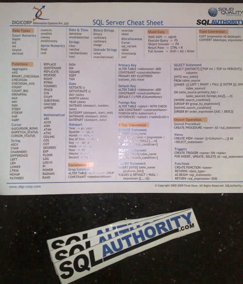 SQLAuthority News - Request SQLAuthority.com Stickers and SQL Server Cheat Sheet sqlcheatsheetsticker