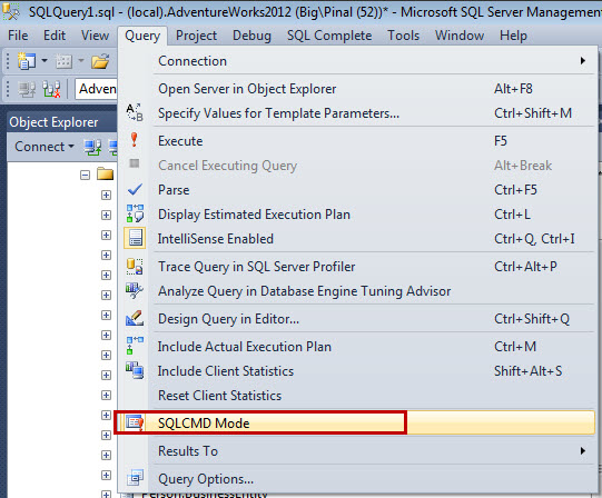 SQL SERVER - How to Set Variable and Use Variable in SQLCMD Mode sqlcmd-ex1