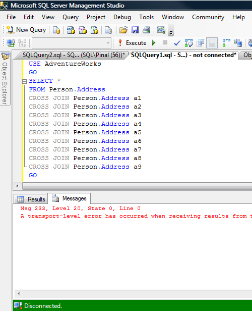 SQL SERVER - sqlcmd - Using a Dedicated Administrator Connection to Kill Currently Running Query sqlcmd_5