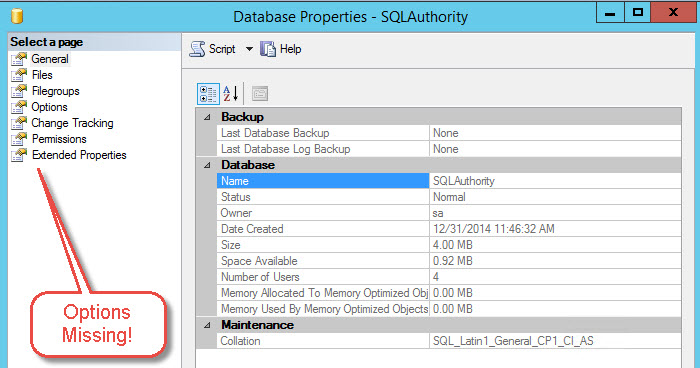 "SQL SERVER - Fix - Missing ""Mirroring"" and ""Transaction Log Shipping"" option in the Database Properties ssms-missing-01"