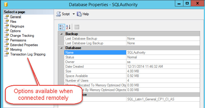 "SQL SERVER - Fix - Missing ""Mirroring"" and ""Transaction Log Shipping"" option in the Database Properties ssms-missing-02"