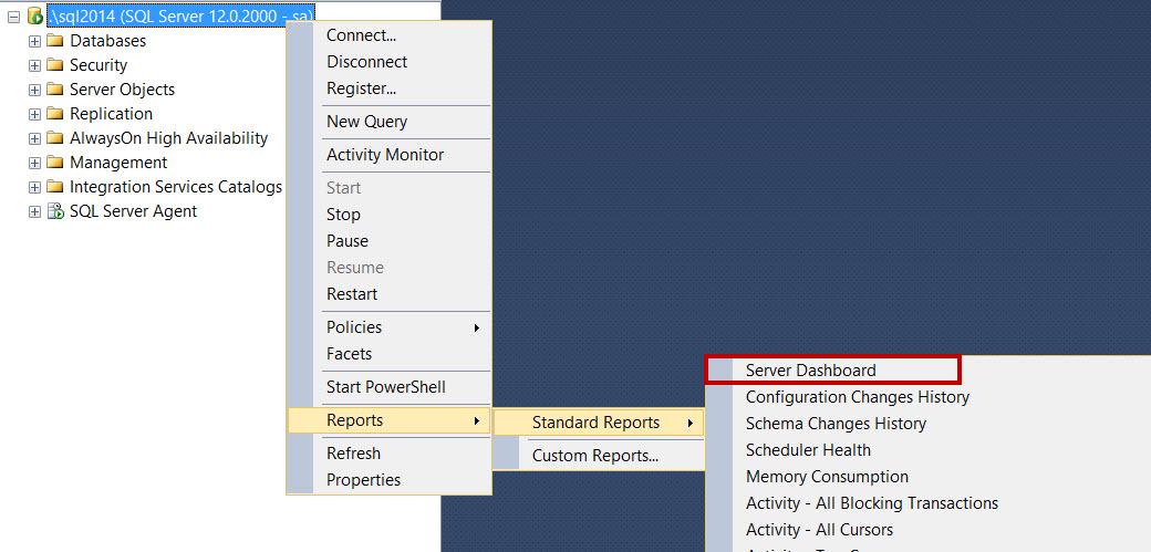 SQL SERVER - SSMS: Server Dashboard Report ssmsreport-1