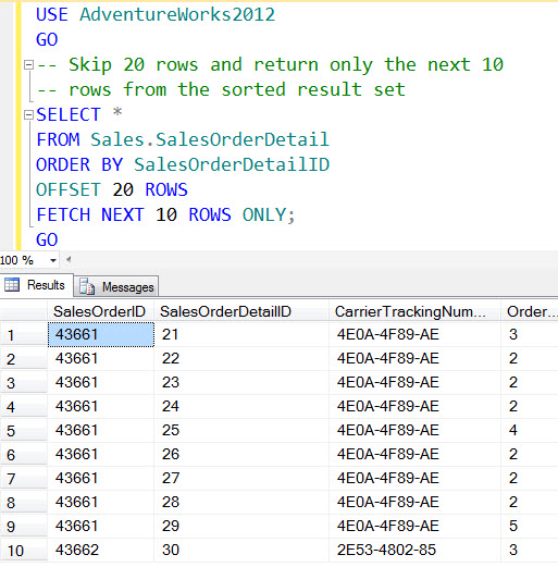 SQL SERVER - MySQL - LIMIT and OFFSET - Skip and Return Only Next Few Rows - Paging Solution sspaging1