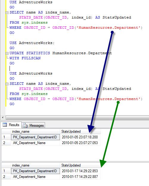 SQL SERVER - Find Statistics Update Date - Update Statistics statsupdate1