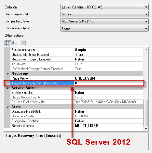 SQL SERVER - Target Recovery Time of a Database - Advance Option in SQL Server 2012 targetrecovery2012