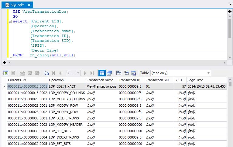 SQL SERVER - Beginning Reading Transaction Log File tlog4