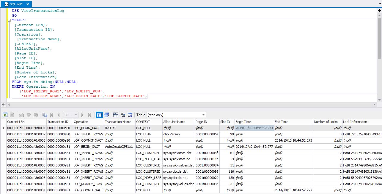 SQL SERVER - Beginning Reading Transaction Log File tlog6