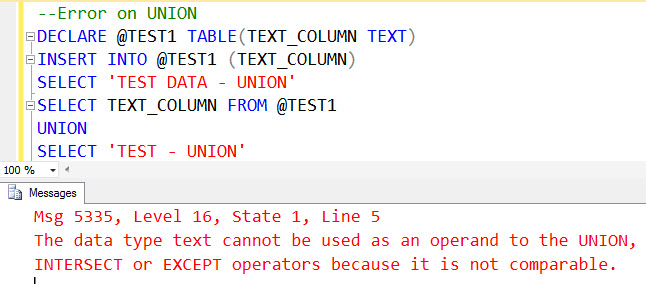 SQL SERVER - UNION and UNION ALL with TEXT DataType - Observation unionerror1