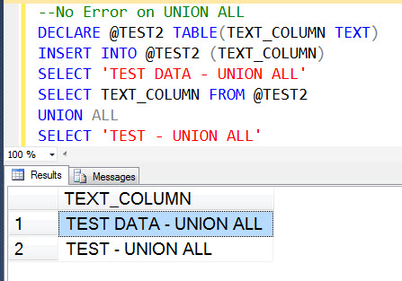 SQL SERVER - UNION and UNION ALL with TEXT DataType - Observation unionerror2