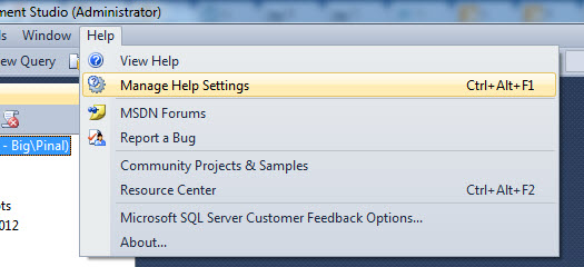 SQL SERVER - Manage Help Settings - CTRL + ALT + F1 updatehelp1