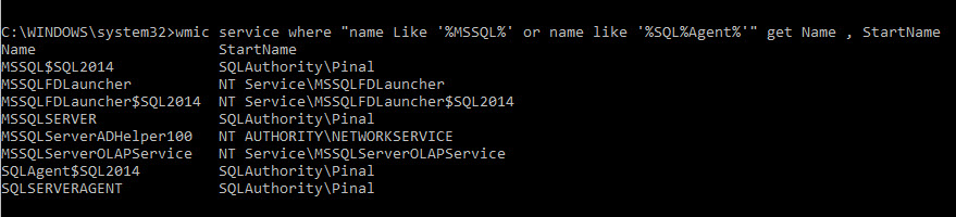 SQL SERVER - Script to find SQL Startup Account using WMIC wmic-02